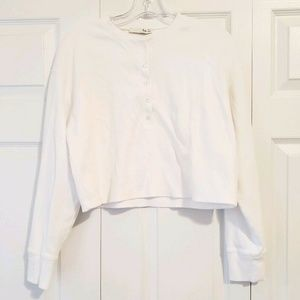 WILFRED FREE white long sleeve ribbed cropped top